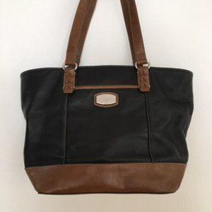 Tignanello Large Black & Brown Leather Tote /purse